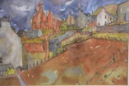 Donald M Buyers RSW, Church at Gardenstoun, watercolour, signed and dated '86 (50cm x 62cm)