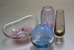 A Caithness amethyst spiral heart engraved ovoid vase, a Caithness smoked glass vase, a Bawley