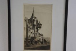 Unknown artist ,John Knox's House engraving signed