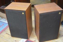 A pair of Kef teak-cased speakers, 8 ohms.