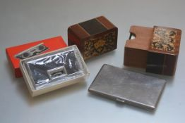 A Sorrento ware inlaid two section card case complete with original cards, a plated cigarette case