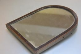 A 19thc mahogany boxwood strung arched wall mirror with original distressed mirror plate (32cm x