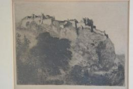 Alex Wilson, Edinburgh Castle from the Gardens, engraving, signed (18cm x23cm)