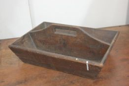 A 19th century treen housemaid's twin division box. 15cm by 40cm by 29cm