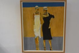 N Steven, Two Standing Figures, oil on canvas, signed (59cm x 48cm)