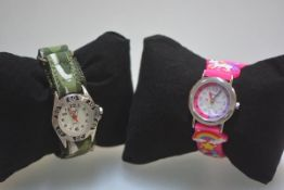 Travel boys and girls quartz wristwatches on adjustable straps complete with boxes etc (2). Dials