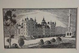 E J Oxley, George Heriot's School, linocut (20cm x 33cm)