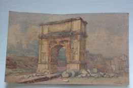 "A late 19th century ""Grand Tour"" watercolour depicting the Arch of Titus, signed A. Trilli, on"