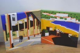 PMJ., Sunbathing on the Beach, oil on canvas and companion (2)
