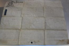 An Indenture dated 12th February 1753 (part of seal remaining) (60cm x 74cm)