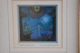 Linda Garland, Chrystal Goddess, print, signed in pencil, dated 1992 (8cm x 8cm)
