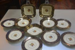 An Aynsley china fifteen piece dessert service including two comports, a navette shaped dish, two