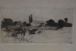 Sir Hubert von Herkoner, Figures fording a Stream, drypoint, signed in pencil, paper label verso (