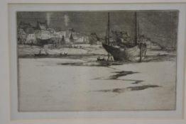 Unknown artist, Fishing Boat stranded on the Shore, drypoint, unsigned (16cm x 25cm)