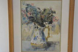 Scott R Macdonald, Floral Study, watercolour, signed in pencil, paper label verso (48cm x 34cm)