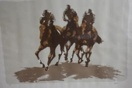 Peter Howell, The Last Furlong, four colour limited edition silkscreen print, 63/200, printed by