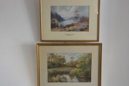 After J MacWhirter RA., Midst Mountain and Lake, print and P Mitchell, Riverscape, watercolour,