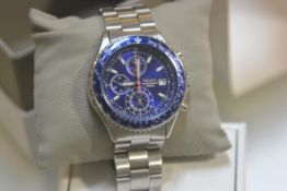 A Seiko Flight Master quartz chronograph wristwatch on a stainless steel bracelet, with box and