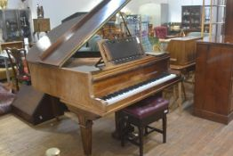 A John Broadwood & Sons, London rosewood cased Edwardian baby grand piano with overstrung and