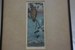 Matanabe, Twilight, woodblock colour print, signed in pencil, paper label verso (25cm x 10cm)