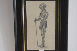 Unknown artist, Knight in Full Armour, pencil sketch (33cm x 19cm)