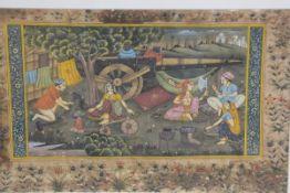 19thc Indian School, Encampment of Indian Figures, watercolour on paper (20cm x 31cm)