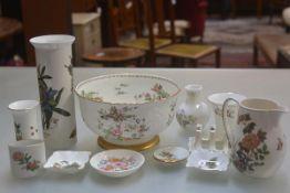 A Wedgwood Eastern Flowers pattern milk jug, a Portmerion pottery cylinder vase, a Wedgwood