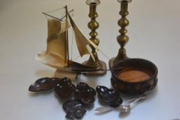 A masted sailing boat in horn, a pair of Victorian brass Jack O Diamonds candlesticks (h.27cm), a