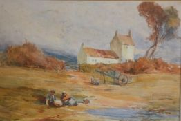 A Fraser, Figures beside the Pond, watercolour, signed (19cm x 28cm)