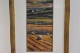 Gina Wright, Hay Bales, Forgan, pastel, signed (33cm x 15cm)