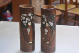 A pair of Japanese mother of pearl and bone encrusted cylinder bamboo brush pots (h.30cm)