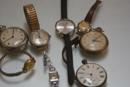A collection of wristwatches inc. a Westclox pocket watch, 19th century silver open face pocket