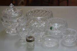 A mixed lot of Edinburgh Crystal including an Edinburgh Crystal shallow bowl, complete with original