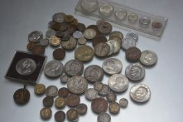 Two Victorian silver crowns and a George V silver crown, misc. silver and other GB coins, Irish