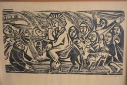 J A Morkwusko, Palm Sunday, linoprint, 2/3, signed and dated 1970, paper label verso (80cm x 76cm)