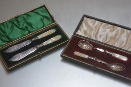 A pair of mother of pearl handled Epns butter knives and a pair of mother of pearl handled jam