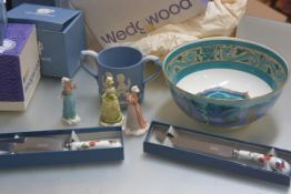 A Wedgwood Vauxhall Gardens Collection bisque figure, Fair Priscilla, and another three including