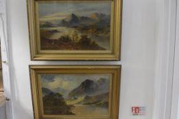 H B Davis, Highland Loch Scenes, a pair, oils on canvas. 39 cm by 59cm