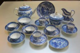 A group of early 19thc English china blue and white pagoda pattern teaware including an oval sucrier