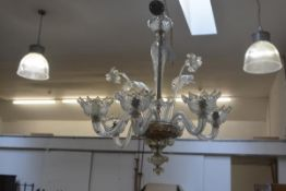 An Italian Murano glass clear crystal six branch pendant light fitting complete with two leaves