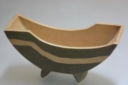 A 1930's Studio pottery crescent shaped vase, impressed mark. Width 25cm