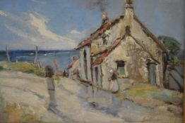 James Watson, Showery Day, St Monans, oil on canvas board, signed and inscribed verso (24cm x 34cm)