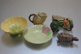 A Carltonware leaf and daisy decorated dish, a Melba ware moulded saucer, a Hornsea pottery