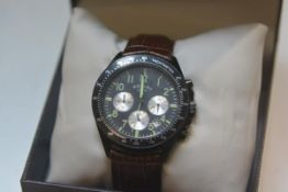 A gent's Rotary Tachymeter quartz chronograph on leather strap wristwatch with box and papers