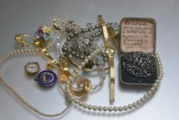 A group inc. paste pearl necklaces, 9ct gold lady's wristwatch with enamel dial, ceramic brooch