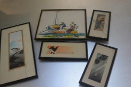 A collection of four various Japanese woodblock prints, various sizes (largest:25cm x 30cm) (