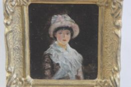 Russian School, Portrait of a Young Lady, oil on canvas board, signed indistinctly (17cm x 14cm)