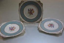 A set of three Chelson Manufactured for Harrods of London, cake stand plates with scalloped