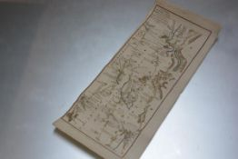 An 18thc section of a double sided map, The Road from Edinburgh to Stirling, Tyndrum and Fort