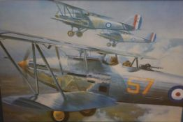 Wootton, World War I fighter aircraft, coloured print, framed. 40cm by 55cm